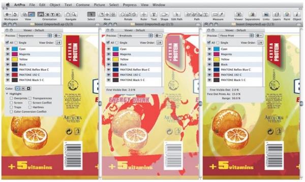 Слева — стандартный вид макета в графическом редакторе. Два варианта справа демонстрируют лишь малую часть из режимов просмотра ViewX