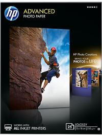 HP Бумага Advanced Glossy Photo Paper, глянцевая, 13 x 18 см (130 x 180 мм), 250 г/кв.м (25 листов) (Q8696A)