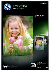 HP Бумага Everyday Glossy Photo Paper, глянцевая, 10 x 15 см (100 x 150 мм), 200 г/кв.м (100 листов) (CR757A)